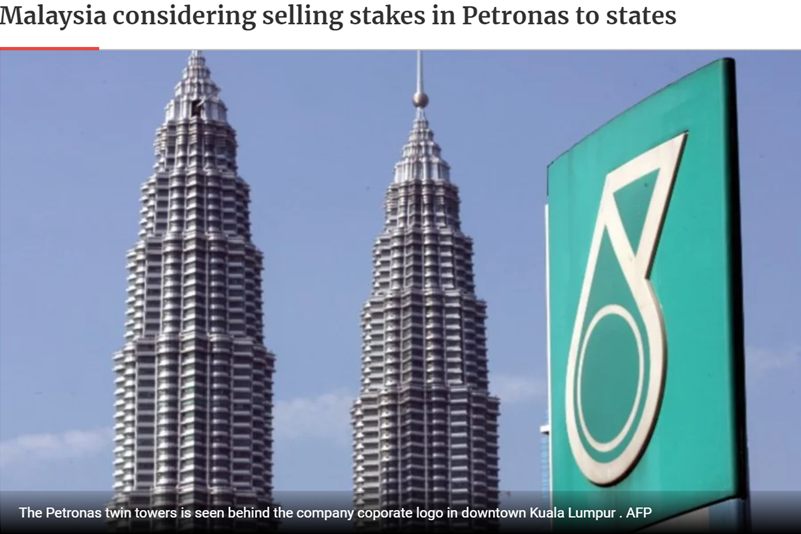 Malaysia considering selling stakes in Petronas to states