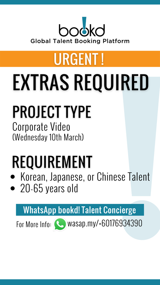 URGENT JOB ALERT!    Anyone interested and available in Kuala Lumpur or the surr…