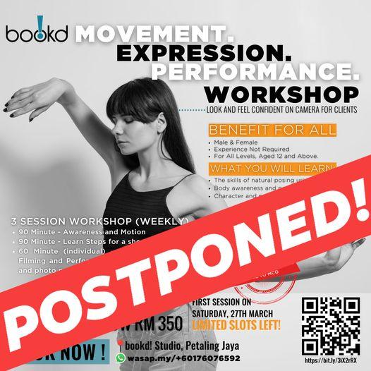 POSTPONED NOTICE! bookd! Movement Workshop is postponed until further notice.  …