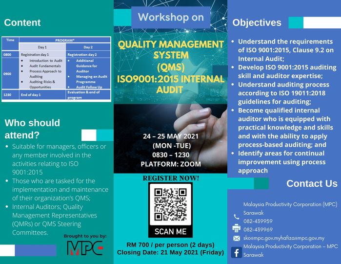 Hurry and sign up with us  Workshop on QMS ISO9001:2015 Internal Audit 24 – 25 M…