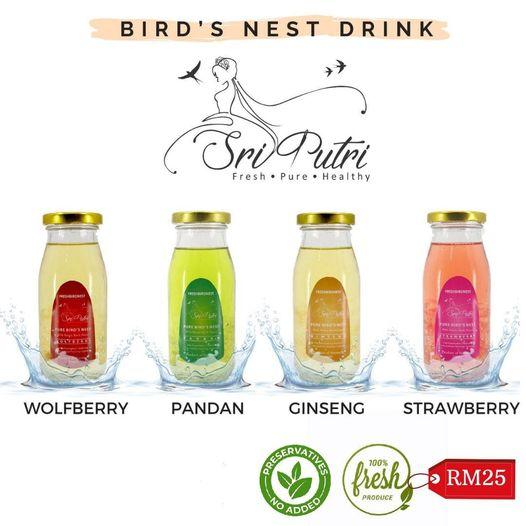 Pelbagai perisa 'Fresh bird's nest drink'. Boleh order online di sini;