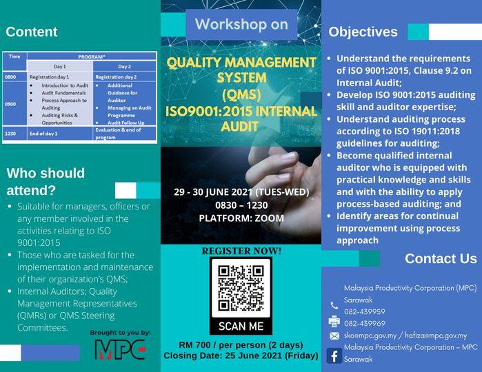 Lets rejuvenate your knowledge through online Workshop on QMS ISO9001:2015 (29 -…