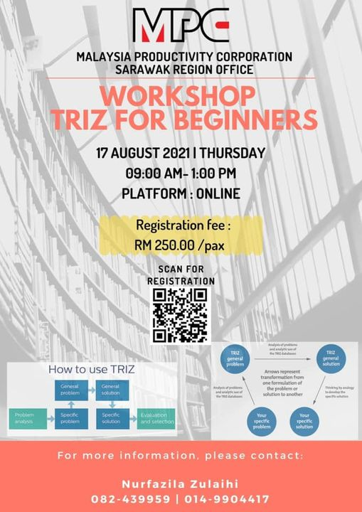 Let's Join US !  WORKSHOP ON TRIZ FOR BEGINNERS  DATE : 17 AUGUST 2021 | THURSDA…