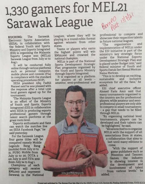 """""""SESA President Afiq Fadhli Narawi said he was pleased with the response after a…"""
