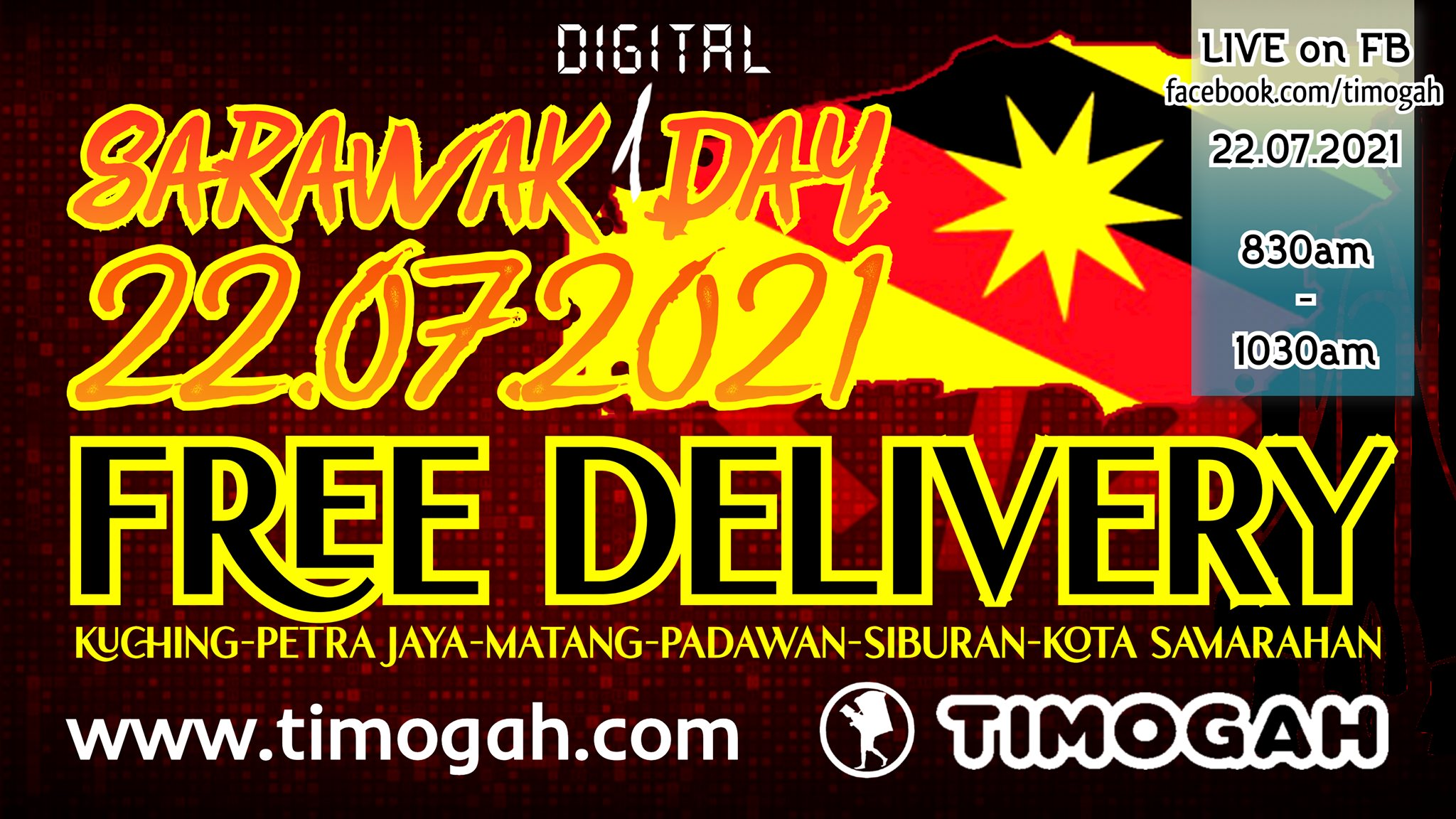 FREE DELIVERY on SARAWAK DAY! Lets shop online.  Watch us LIVE tomorrow morning …