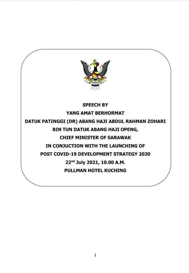 SPEECH BY YAB CHIEF MINISTER IN CONJUCTION WITH THE LAUNCHING OF POST COVID -19 … – Old Kuching Smart Heritage