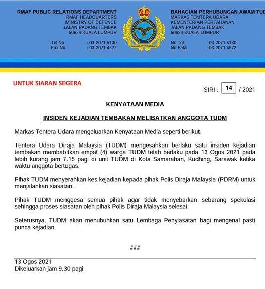 AMOK: Empat anggota TUDM maut ditembak (UPDATE) SEORANG anggota Tentera Udara Di…
