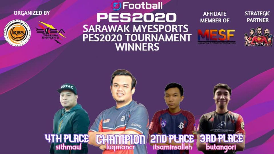 Tahniah kepada semua pemenang MyEsports PES 20 Negeri Sarawak bagi kategori 1 vs…