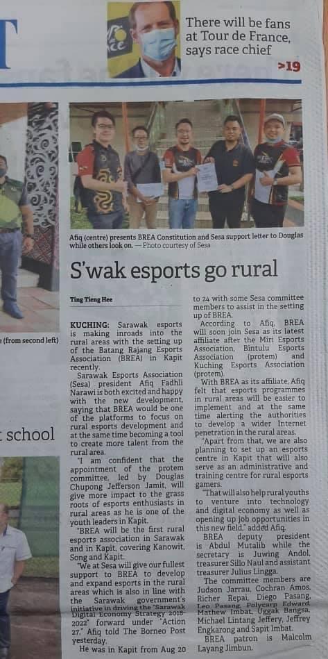 Batang Rajang Esports Association.   Thank you Borneo Post Online.